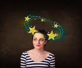 Girl with yellow stars circleing around her head illustration — Stock Photo