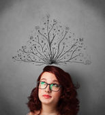 Young woman with tangled lines coming out of her head — Stock Photo