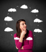 Young woman thinking with cloud circulation around her head — Stock Photo