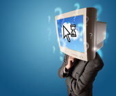 Person with a monitor head and cloud based technology on the scr — Foto Stock