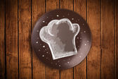 Colorful plate with hand drawn white chef symbol  — Stock Photo
