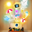 Tourist bag with colorful summer icons and symbols — Stock Photo #44639863