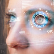Future woman with cyber technology eye panel concept — Stock Photo #44639967