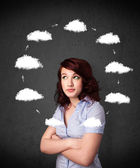 Young woman thinking with cloud circulation around her head — Stock fotografie