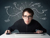 Young hacker with white drawn line thoughts — Stock Photo