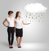 Woman with cloud and money rain concept — Stock Photo
