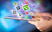 Hand touching tablet pc, social network concept — Stock Photo