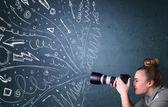 摄影师拍摄而充满活力的手绘线条图像 — 图库照片