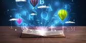 打开书与发光幻想抽象云层和气球 — 图库照片