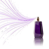 Perfume bottle spraying colorful lines — Stock Photo