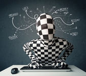 Morphsuit hacker with white drawn line thoughts — Stock Photo