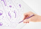 Hand, abstrakte zeichnungen und kritzeleien auf papier zeichnen — Stockfoto