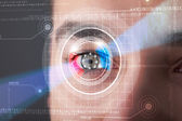 Cyber man with technolgy eye looking — Stock Photo