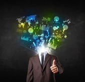 Business man in suit with graph and charts exploding from his bo — Stock Photo