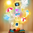 Tourist bag with colorful summer icons and symbols — Stock Photo #45481019