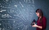 çekimleri enerjik elle çizilmiş çizgiler ise fotoğrafçı bir — Stok fotoğraf