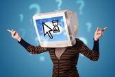человек с головой в монитор и облако основе технология scr — Стоковое фото