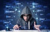 Hacker teknoloji çevre cyber simgeleri ile programlama — Stok fotoğraf
