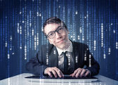 Hacker fütüristik ağ teknolojisi bilgi çözme — Stok fotoğraf