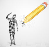 Cara de máscara corporal com uma salva de palmas desenhadas a lápis — Foto Stock