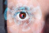 Homem futurista moderno cyber com painel de olho de tela tecnologia — Foto Stock