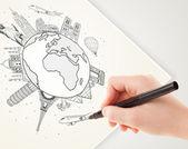 Hand tekening vakantiereis rond de aarde met monumenten en c — Stockfoto