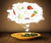 Piatto di cibo con illustrazione di ingredienti vegetali nel cloud — Foto Stock