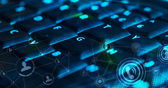 Keyboard with glowing social network icons — Stock Photo