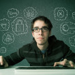 Постер, плакат: Young nerd hacker with virus and hacking thoughts