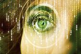 Kobieta nowoczesne cyber okiem macierzy — Zdjęcie stockowe