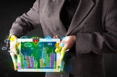 Young person showing tablet with hand drawn cityscape — Foto Stock