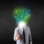Business man with abstract glowing letters on head — Stock Photo