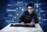 Hacker programing in technology enviroment with cyber icons  — Stock Photo
