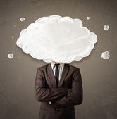 Business man with white cloud on his head concept — Stock Photo