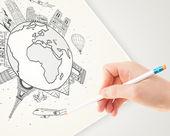 手绘图与地标和 c 地球周围的假期旅行 — 图库照片