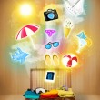 Tourist bag with colorful summer icons and symbols — Stock Photo #46636365
