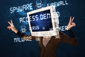 Monitor head person with hacker type of signs on the screen — Stock Photo