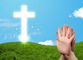 Happy finger smileys with christian religion cross — Stock Photo