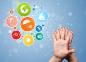 Veselá prst smajlíky s barevné prázdninové cestování bublina ikonu — Stock fotografie