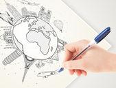 Hand zeichnung urlaubsreise um die erde mit sehenswürdigkeiten und c — Stockfoto