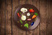 Colorful plate with hand drawn icons, symbols, vegetables and fr — Stock Photo