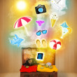 Tourist bag with colorful summer icons and symbols — Stock Photo #46990719