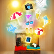 Tourist bag with colorful summer icons and symbols — Stock Photo #47405047