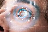 Futuristische moderne cyber man met technologie screen oog paneel — Stockfoto