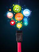 Społecznościowych ikony z kabli elektrycznych — Zdjęcie stockowe