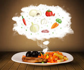 Plate of food with vegetable ingredients illustration in cloud — Стоковое фото
