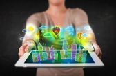 Young person showing tablet with hand drawn cityscape — Foto de Stock