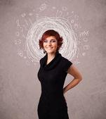 Vrij jong meisje met abstracte circulaire doodle lijnen en pictogrammen — Stok fotoğraf