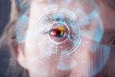 Futuristisk modern cyber man med teknik skärmen öga panel — Stockfoto