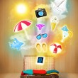 Tourist bag with colorful summer icons and symbols — Stock Photo #47938955
